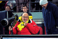 Photographers Ross Setford and Martin Hunter during the Super Rugby match between the Hurricanes and Chiefs at Westpac Stadium, Wellington, New Zealand on Saturday, 23 April 2016. Photo: Dave Lintott / lintottphoto.co.nz