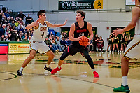 16 December 2018: Northeastern University Huskies Guard Bolden Brace, a Junior from Santa Barbara, CA, in second half action against the University of Vermont Catamounts at Patrick Gymnasium in Burlington, Vermont. The Catamounts defeated the Huskies 75-70 in NCAA Division I America East play. Mandatory Credit: Ed Wolfstein Photo *** RAW (NEF) Image File Available ***