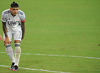 WASHINGTON, DC - AUGUST 25: Gustavo Bou #7 of New England Revolution during a game between New England Revolution and D.C. United at Audi Field on August 25, 2020 in Washington, DC.
