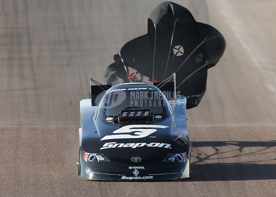 Feb. 23, 2013; Chandler, AZ, USA; NHRA funny car driver Cruz Pedregon during qualifying for the Arizona Nationals at Firebird International Raceway. Mandatory Credit: Mark J. Rebilas-