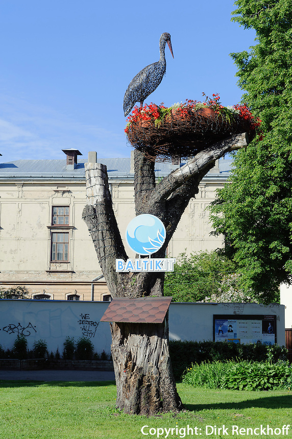 Storchendenkmal  in Liepaja, Lettland, Europa