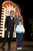 Randy Hahn, Hall of fame inductee Brandi Chastain and her son at the San Jose Sports Hall of Fame induction ceremony at the HP Pavilion on Nov. 14, 2012.