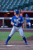 Kansas City Royals first baseman Chris DeVito (34) at bat during an Instructional League game against the Arizona Diamondbacks at Chase Field on October 14, 2017 in Scottsdale, Arizona. (Zachary Lucy/Four Seam Images)