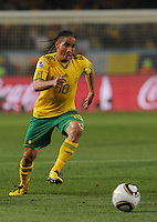 South African midfielder Steven Pienaar builds up a head of steam on the dribble towards Uruguay's goal. Uruguay defeated South Africa, 2-0, in both teams' second match of play in Group A of the 2010 FIFA World Cup. The match was played at Loftus Versfeld in Pretoria, South Africa June 16th.