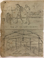 BNPS.co.uk (01202) 558833<br /> Pic: Tennants/BNPS<br /> <br /> There are also several pencil sketches of the building of the railway that was the subject of the epic 1957 war film The Bridge on the River Kwai starring Alec Guinness.<br /> <br /> Cartoon drawings and photographs documenting life in a brutal Japanese prisoner of war camp have been found in an archive belonging to a former soldier. <br /> <br /> The satirical sketches depicting the plight of the British PoWs were produced in secret by Captain Harry Witheford and fell inmate Ronald Searle, the famous illustrator. <br /> <br /> The scenes included the notorious Changi PoW camp in Singapore and the building of the 'Death Railway' along the River Kwai in Burma. <br /> <br /> There are three previously unseen cartoons by Searle. <br /> <br /> One is a sketch to mark Capt Witheford's wife Edna's birthday on April 10, 1944, which shows four officers wearing only loincloths toasting her with mugs of beer.<br /> <br /> Searle also created a calendar for his friend which depicted an image of an army officer lying besides a naked blonde woman. <br /> <br /> Capt Witheford's accomplished work includes a drawing of a prisoner having a bath covered in sunburns from working on the railway.
