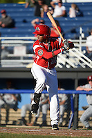 Batavia Muckdogs outfielder Wildert Pujols (38) at bat during a game against the Mahoning Valley Scrappers on June 21, 2014 at Dwyer Stadium in Batavia, New York.  Batavia defeated Mahoning Valley 10-6.  (Mike Janes/Four Seam Images)