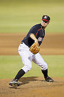 Kannapolis Intimidators relief pitcher Ben Brewster (40) in action against the Delmarva Shorebirds at CMC-NorthEast Stadium on July 1, 2014 in Kannapolis, North Carolina.  The Intimidators defeated the Shorebirds 5-2. (Brian Westerholt/Four Seam Images)