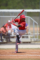 St. Louis Cardinals Delvin Perez (7) bats during a minor league Spring Training game against the Washington Nationals on March 27, 2017 at the Roger Dean Stadium Complex in Jupiter, Florida.  (Mike Janes/Four Seam Images)