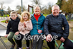 Barra and Laia McBride with their grandparents Joan and Gerald Carey enjoying the playground in the Tralee town park on Monday. L to r: Barra and Laia McBride, Joan and Gerald Carey