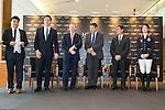 L-R: Unindentified MC, Fabien Grobon, Managing Director of EEM, Winfried Engelbrecht-Bresges, JP, CEO of The Hong Kong Jockey Club, Juan-Carlos Capelli, Vice-President and Head of International Marketing of Longines, Michael Lee, President of Hong Kong Equestrian Federation, Jacqueline Lai, Masters rider, stand at Longines Hong Kong Masters official press conference at the Happy Valley Racetrack on February 02, 2016 in Hong Kong.  Photo by Victor Fraile / Power Sport Images
