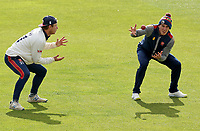 Daniel Lawrence (right) of Essex and Tom Westley (left) practice fielding drills during Essex CCC vs Kent CCC, Friendly Match Cricket at The Cloudfm County Ground on 29th March 2021