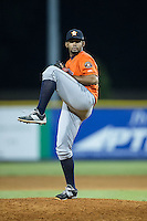 Greeneville Astros relief pitcher Edgardo Sandoval (41) in action against the Burlington Royals at Burlington Athletic Park on August 29, 2015 in Burlington, North Carolina.  The Royals defeated the Astros 3-1. (Brian Westerholt/Four Seam Images)