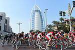 The peloton pass the Burj Al Arab during Stage 5 The Meraas Stage final stage of the Dubai Tour 2018 the Dubai Tour's 5th edition, running 132km from Skydive Dubai to City Walk, Dubai, United Arab Emirates. 10th February 2018.<br /> Picture: LaPresse/Fabio Ferrari | Cyclefile<br /> <br /> <br /> All photos usage must carry mandatory copyright credit (© Cyclefile | LaPresse/Fabio Ferrari)