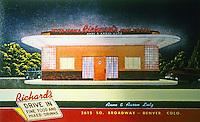 Diners:  Richard's Diner, Denver CO. 1937:  1948 view.  Demolished.  Phot0 '89.