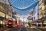 United Kingdom, England, London: Christmas lights and shopping along Regent Street