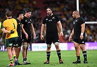 7th November 2020, Brisbane, Australia; Tri Nations International rugby union, Australia versus New Zealand;  Samuel Whitelock of the All Blacks (centre) and teammates react tralia