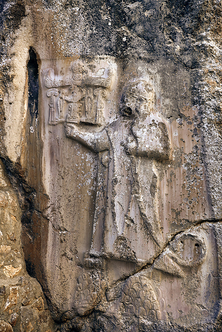 God figure from the 13th century BC Hittite religious rock carvings of Yazılıkaya Hittite rock sanctuary, chamber A,  Hattusa, Bogazale, Turkey.