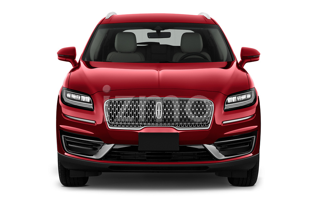 Car photography straight front view of a 2020 Lincoln Nautilus Base 5 Door SUV Front View