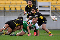 Kaipo Olsen-Baker of the Manawatu passes the ball during the Farah Palmer Cup Rugby – Wellington v Manawatu at Sky Stadium, Wellington, New Zealand on Friday 25 September 2020. <br /> Photo by Masanori Udagawa. <br /> www.photowellington.photoshelter.com