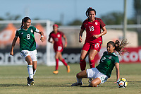 Bradenton, FL - Sunday, June 12, 2018: Nicole Perez, Reyna Reyes, Sunshine Fontes during a U-17 Women's Championship Finals match between USA and Mexico at IMG Academy.  USA defeated Mexico 3-2 to win the championship.