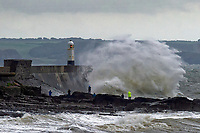 Pictured: Waves hit Porthcawl lighthouse in during Storm Bronagh, Wales, UK. Thursday 20 September 2018<br /> Re: Storm Bronagh will develop across Wales and south-west England on Thursday evening with gusts of up to 65mph.<br /> It comes after Storm Ali claimed two lives and left thousands of homes without power.