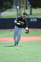 University of Cincinnati Bearcats infielder Forrest Perron (7) during practice before a game against the Rutgers University Scarlet Knights at Bainton Field on April 19, 2014 in Piscataway, New Jersey. Rutgers defeated Cincinnati 4-1.  (Tomasso DeRosa/ Four Seam Images)