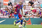 FC Barcelona's Oscar Mingueza (l) and Getafe CF's Jakub Jankto during La Liga match. August 29, 2021. (ALTERPHOTOS/Acero)