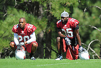 Jul 31, 2009; Flagstaff, AZ, USA; Arizona Cardinals cornerback (20) Ralph Brown and (25) Bryant McFadden during training camp on the campus of Northern Arizona University. Mandatory Credit: Mark J. Rebilas-