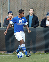 Creighton University midfielder Jose Gomez (10) looks to pass..NCAA Tournament. Creighton University (blue) defeated University of Connecticut (white), 1-0, at Morrone Stadium at University of Connecticut on December 2, 2012.