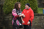 Adam Jones with former Wales fly half Neil Jenkins during Ospreys training today at Llandarcy Academy of Sport near Neath ahead of their Heineken Cup game with Viadana this coming weekend. Adam is expected to make a return to the field in a couple of weeks after he suffered a dislocated shoulder in the British and Irish Lions' second Test against South Africa back in June.