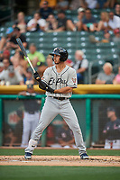 Javy Guerra (5) of the El Paso Chihuahuas bats against the Salt Lake Bees at Smith's Ballpark on July 5, 2018 in Salt Lake City, Utah. El Paso defeated Salt Lake 3-2. (Stephen Smith/Four Seam Images)