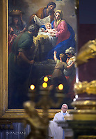 Pope Francis  holy mass at St. Mary Major Basilica in Rome, on January 28, 2018.'Natività di Cristo', painting by Francesco Mancini in 1750