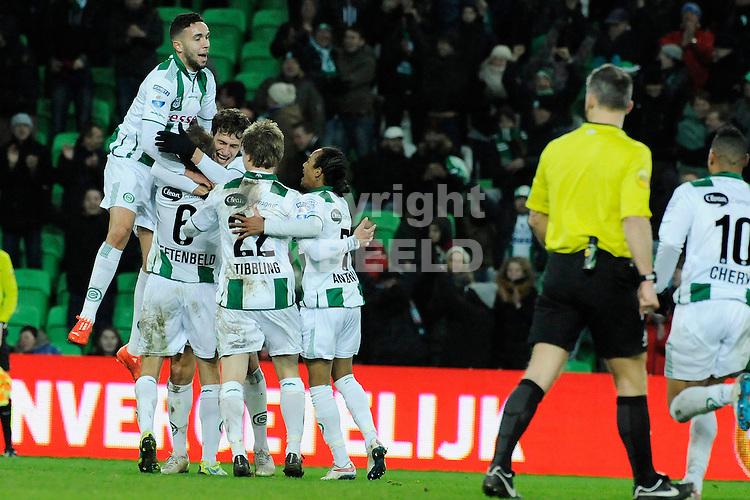 GRONINGEN - Voetbal, FC Groningen - Vitesse, KNVB beker, Euroborg, seizoen 2014-2015, 28-01-2015,  Groningen viert de 4-0