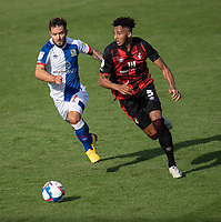 Blackburn Rovers' Adam Armstrong (left) vies for possession with Bournemouth's Lloyd Kelly (right) <br /> <br /> Photographer David Horton/CameraSport <br /> <br /> The EFL Sky Bet Championship - Bournemouth v Blackburn Rovers - Saturday September 12th 2020 - Vitality Stadium - Bournemouth<br /> <br /> World Copyright © 2020 CameraSport. All rights reserved. 43 Linden Ave. Countesthorpe. Leicester. England. LE8 5PG - Tel: +44 (0) 116 277 4147 - admin@camerasport.com - www.camerasport.com