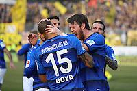 celebrate the goal, Torjubel zum 1:0 von Terrence Boyd (SV Darmstadt 98) mit Peter Niemeyer (SV Darmstadt 98) - 11.02.2017: SV Darmstadt 98 vs. Borussia Dortmund, Johnny Heimes Stadion am Boellenfalltor