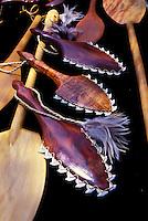 Canoe paddles, and war clubs ringed with tiger shark teeth, on display at a craft fair in Kapiolani Park, Waikiki.
