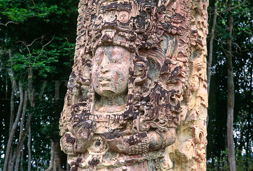 STELA H depicts 18 RABBITwith elaborate headdress (AD 730) - COPAN RUINS, HONDURAS