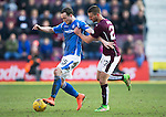 Hearts v St Johnstone…19.03.16  Tynecastle, Edinburgh<br />Chris Kane holds off Perry Kitchen<br />Picture by Graeme Hart.<br />Copyright Perthshire Picture Agency<br />Tel: 01738 623350  Mobile: 07990 594431