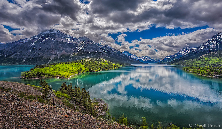 Fine Art Print Mountain Scenic of  Waterton Lakes National Park situated amongst the mountains and foothills in southern Alberta, Canada.  A world heritage site.