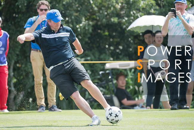 Robbie Fowler kicks a football during the World Celebrity Pro-Am 2016 Mission Hills China Golf Tournament on 23 October 2016, in Haikou, Hainan province, China. Photo by Weixiang Lim / Power Sport Images
