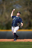 Villanova Wildcats relief pitcher Ryan Pfutzenreuter (1) delivers a pitch during a game against the Ball State Cardinals on March 3, 2017 at North Charlotte Regional Park in Port Charlotte, Florida.  Ball State defeated Villanova 3-1.  (Mike Janes/Four Seam Images)