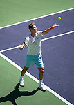 Tomas Berdych (CZE) during his quarterfinal match against Roger Federer (SUI). Federer dispatched Berdych in a swift 64 60 to advance to the semifinals of the BNP Parisbas Open in Indian Wells, CA on March 20, 2015.