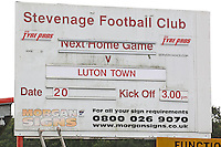 General view of the sign advertising the fixture during Stevenage vs Luton Town, EFL League 2 Football at the Lamex Stadium on 20th August 2016