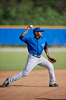Toronto Blue Jays shortstop Miguel Hiraldo (18) throws to first base during an Instructional League game against the Pittsburgh Pirates on October 14, 2017 at the Englebert Complex in Dunedin, Florida.  (Mike Janes/Four Seam Images)