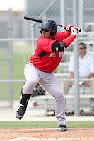 Boston Red Sox catcher Adelberto Ibarra #25 during an Instructional League game against the Minnesota Twins at Red Sox Minor League Training Complex in Fort Myers, Florida;  October 3, 2011.  (Mike Janes/Four Seam Images)