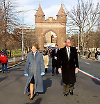 HARTFORD, CT- 03 JANUARY 07- 010307JT06-<br /> Gov. M. Jodi Rell and her husband Louis walk along Wednesday's parade route to the Legislative Office Building in Hartford before the Swearing-In Ceremony on Wednesday.<br /> Josalee Thrift Republican-American