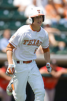 Outfielder Erich Weiss #6 of the Texas Longhorns runs to first against Texas Tech on April 17, 2011 at UFCU Disch-Falk Field in Austin, Texas. (Photo by Andrew Woolley / Four Seam Images)