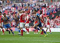 27th May 2018, Wembley Stadium, London, England;  EFL League 1 football, playoff final, Rotherham United versus Shrewsbury Town;  Alex Rodman of Shrewsbury Town celebrates after scoring his sides 1st goal in the 58th minute to make it 1-1