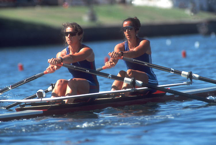 Rowing, Women rowing a double racing shell.Oakland, California, US Masters National Championships.