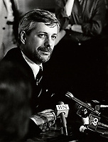 Montreal (QC) CANADA - 1985 file photo - Pierre-Marc Johnson, leader of the Parti Quebesois adress the medias at Alliance Quebec convention